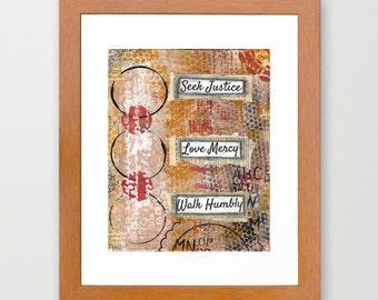 Scripture art, bible verse art print, Seek Justice, Love Mercy, Walk Humbly - mixed media art print, confirmation gift, baptism gift