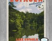"Lake Eufaula Travel Poster - 11""X17"" - Eufaula Alabama - Vintage Poster - Alabama Poster - Lake Poster - Retro Poster - Eufaula Oklahoma"