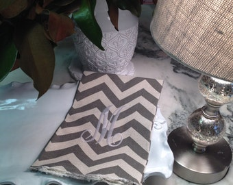 Chevron Taupe and Creme Linen Hand Towel