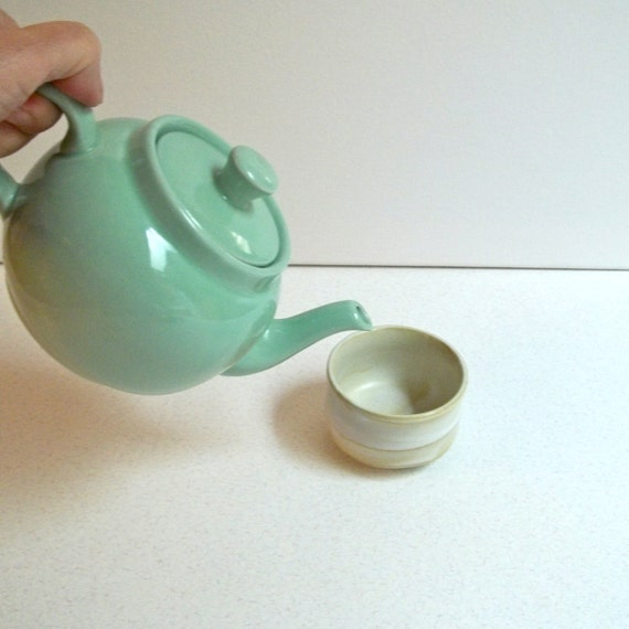Ceramic tea pot mint green ceramic tea pot vintage tea pot Green tea pot set