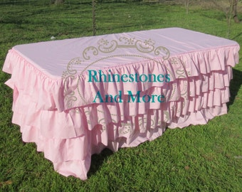 Ruffled Pink Tablecloth for 6 foot table