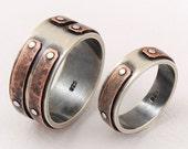 Unique wedding band set - wedding ring set,engagement ring,set of rings,wedding band ring,man ring,woman ring