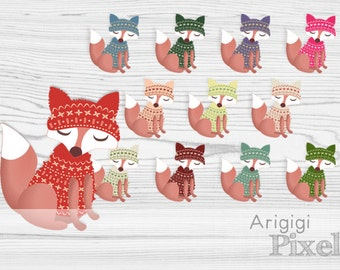 dressed fox clipart, fox in sweater with winter cap, winter clip art set, commercial use digital elements download