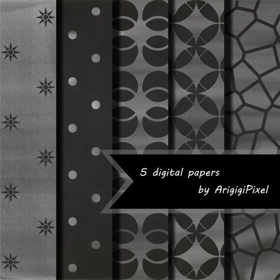 black chalkboard patterned papers - digital sheet