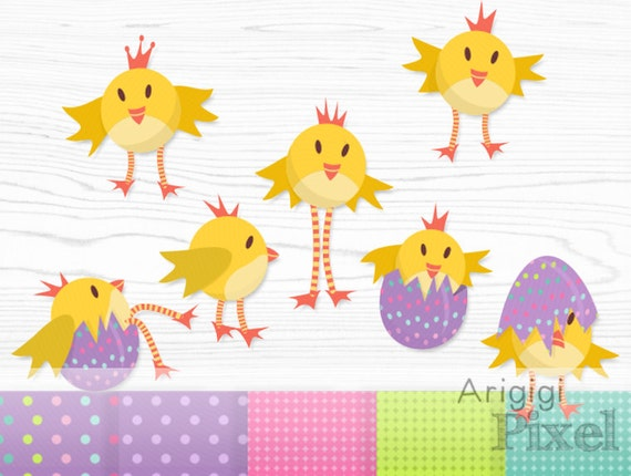 Easter chickens clipart + matching digital papers, chicken in the egg, for cards and scrapbooking download