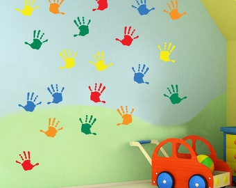 Kids Hand Prints Wall Stickers Kids Nursery Play Room Home Art Decoration Children Decals Removable Handmade School Bedrooms Bright VC-A25