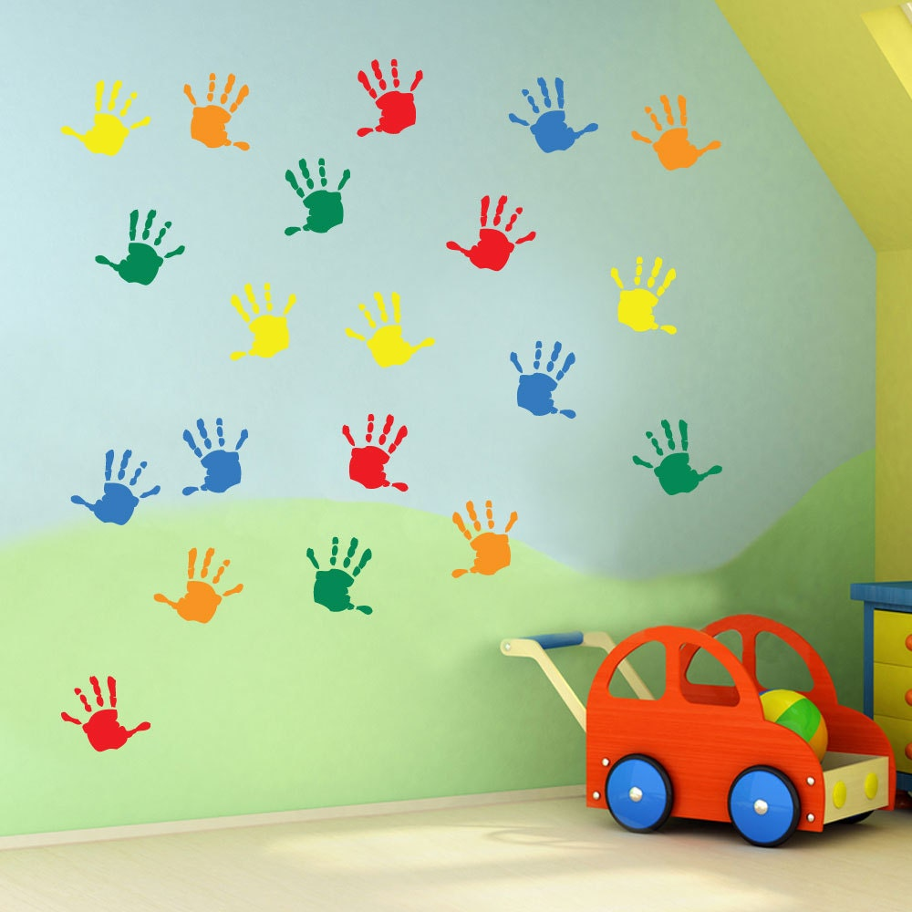 Wall Decoration In Play School : Kids hand prints wall stickers nursery play room home art