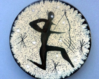 Quirky Mid Century 1950s Ceramic Wall Plaque - Featuring a Stylised Picture of a Caveman or Archer