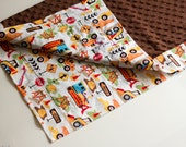 Minky Blanket with construction mighty machines cotton