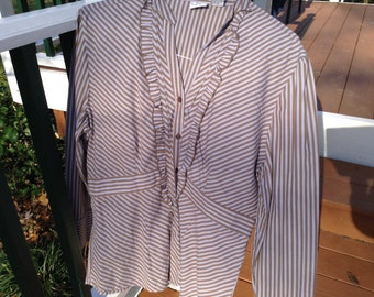 Brown stripes with ruffles blouse