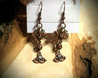 Solid Bronze & Copper,  Rhinestones and Swarovski Crystals Dangling Earrings Copper and Crystal Earrings