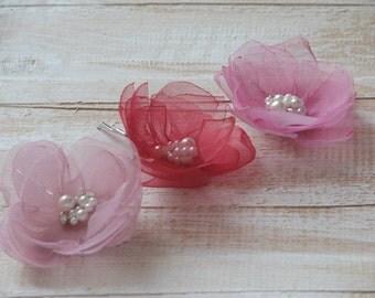 Blush hair flower Blush pink hair pin Pale pink hair flower Raspberry hair flower Blush wedding Pink hair pins Raspberry wedding flower