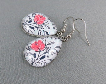 Teardrop Earrings - Twilight Floral Glass Cabochon