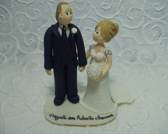 Personalized bride and groom romantic wedding cake topper