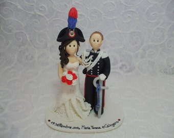 personalized bride and military groom wedding cake topper