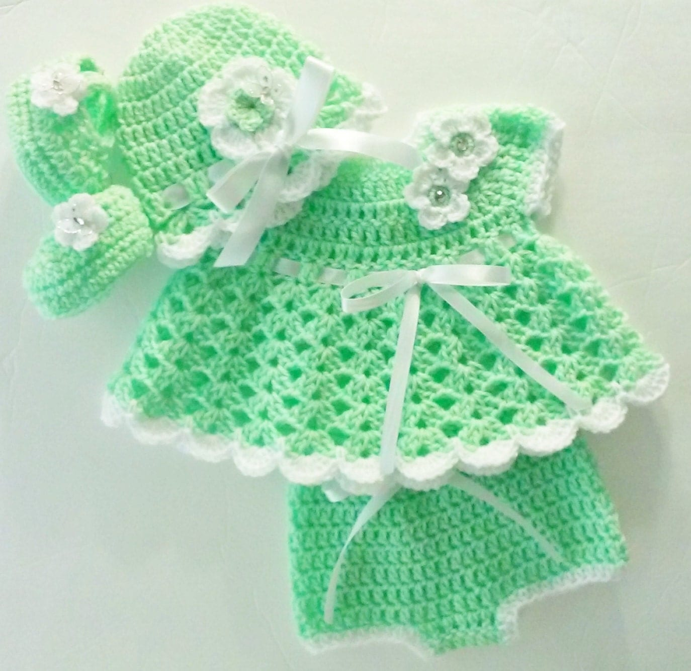 Crochet Kiwi Green Baby Girl Dress Set Layette with Bloomers