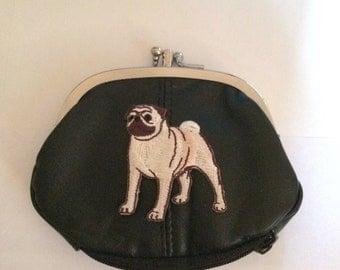 Pug Dog Design Black Leather Change Purse pug