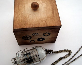 Steampunk necklace vacuum tube valve wire wrapped with wooden box