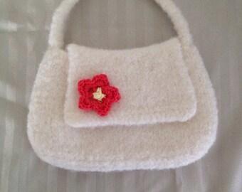 Little girls purse Handknit  Felted, Flower trim