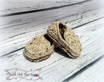 Crochet Baby boy loafer slippers sizes 0-6mo & 6-12 mo - 3 styles - Custom made to order