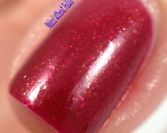 Red Nail Polish, Deep Apple Red w/ Gold Shimmer, Persephone's Pomegranate from the Greek Underworld Collection (15 mL Full Size)