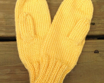Sunshine Yellow Mittens for Kids Ages 3-4 - Yellow Kids Mittens - Yellow Mittens for Children - Yellow Knit Mittens - Kids Winter Mittens
