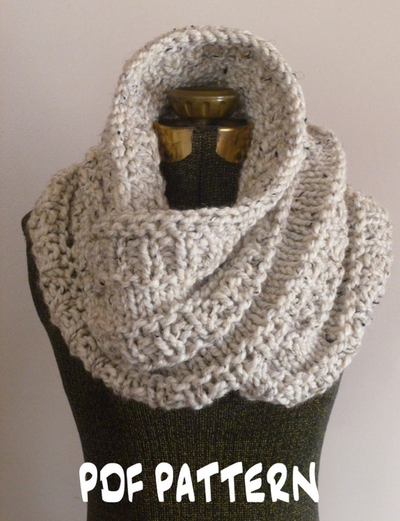 Knitting Pattern Chunky Infinity Scarf Cowl THE NEIL NECKWARMER, Knit Cowl Pa...