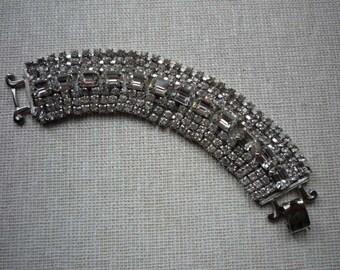 Vintage Wide Silver Tone Rhinestone Bracelet Wedding Bridal