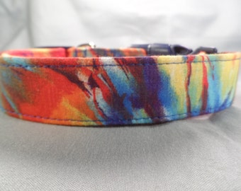 Orange and Blue Tie Dye Dog Collar