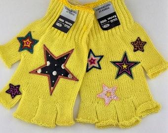 Kevlar Fingerless Gloves - Small - Stars and Rhinestones