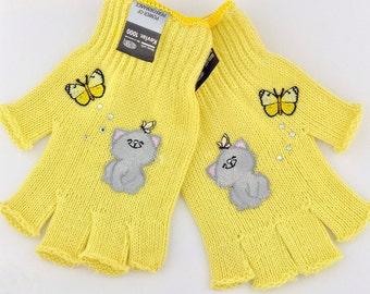 Kevlar Fingerless Gloves - Kittens with butterflies