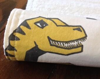 Burp Cloth ~ Geometric//Tribal//Triangle//DINOSAUR//Nature//Gold//Yellow//T-Rex