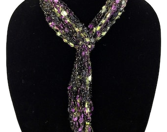 Peace of the Lily Hand Woven Skinny Scarf. #1091
