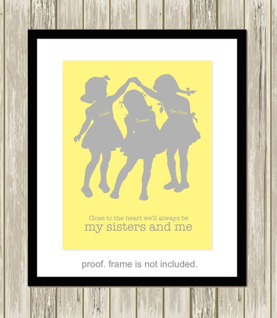 Three Sisters Wall Art Shared Sisters Room By Picabooartstudio