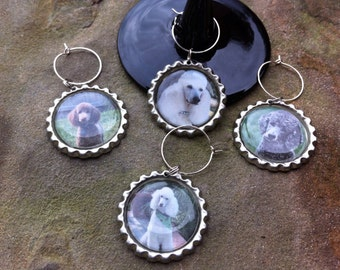 Poodle wine glass charms