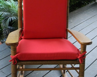 ... Red Rocking Chair 2 PC Foam Cushion Set ~ Fits Cracker Barrel Rocker