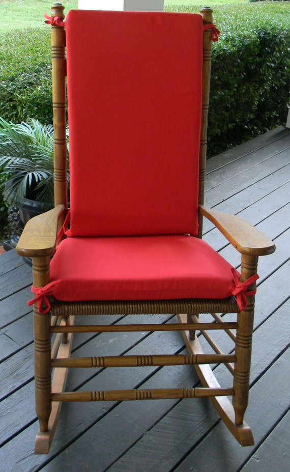 indoor outdoor solid red rocking chair 2 pc foam cushion set fits