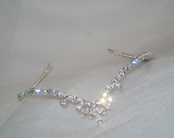 Handmade diamante  wishbone forehead headband style wedding bridal tiara