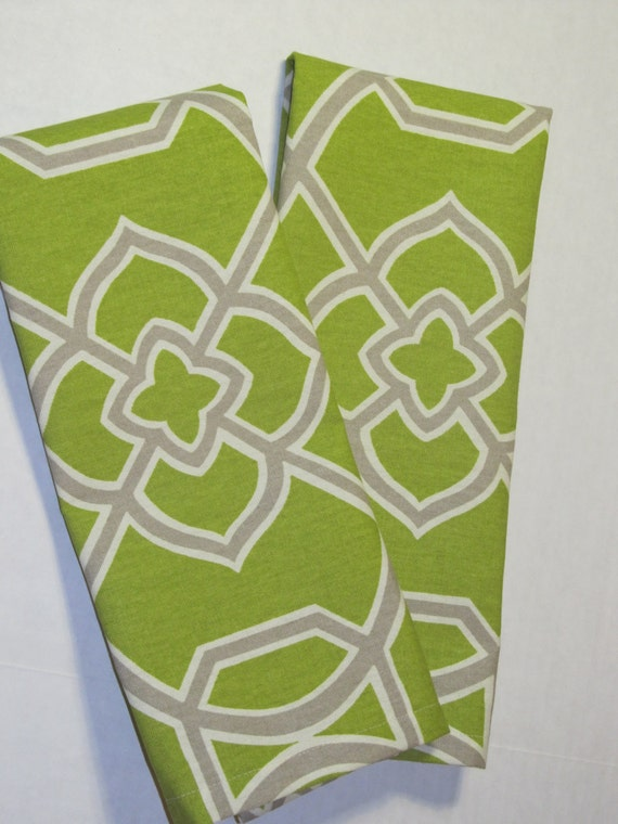 Olive Green And Grey Kitchen Towel