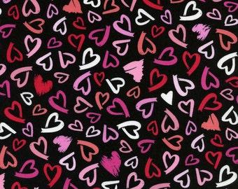 HALF YARD VALENTINE Love Hearts Pink White Black Red Quilting Cotton - Timeless Treasures Paris Hearts Black