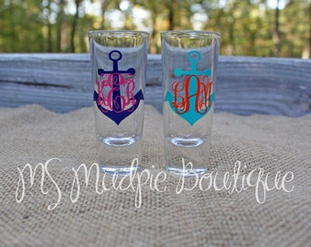 Monogrammed Anchor Shot Glass, Personalized Shot Glass, Monogram Anchor Glass