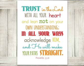Trust in the Lord // Proverbs 3:5-6 // Gender Neutral Brights // INSTANT DOWNLOAD // Scripture Print // Wall Art