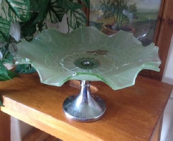 Art Deco Chrome Cake Stand : Vintage Art Deco Green Glass Cake Stand on by NACollectables