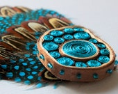 Feathered brooch - OOAK - ready to ship