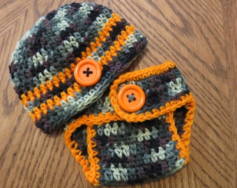 CAMO w/ Orange Crochet Baby Hat with Matching Diaper Cover, Preemie, Newborn to 12 months, Photo Props, bringing home baby outfit