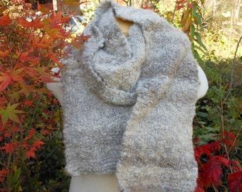 Shetland Wool Scarf Hand Spun Hand Knit