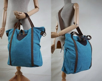 SALE - Stonewashed Dusty Teal Blue Sturdy Cotton Canvas Men Women Handbag/Shoulder Bag/Tote/Smart School bag/Work Bag/Casual Bag - B020