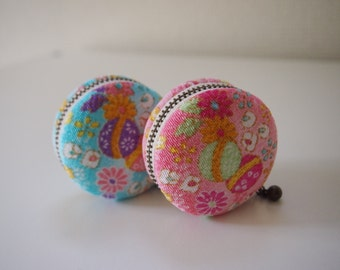 5cm, Macaron Jewelry Pouch/ Macaroon/ Coin Purse - Sugar Candy, Light Blue/Pink -  Handmade in Japan by Chikaberry