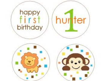 Safari Jungle Baby Shower 1st Birthday Party Favors Stickers Kiss Wrappers Labels