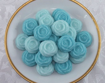36 Turquoise Open Rose shaped sugar cubes for tea party, shower, tea, party favor, wedding, bridal, hostess gift